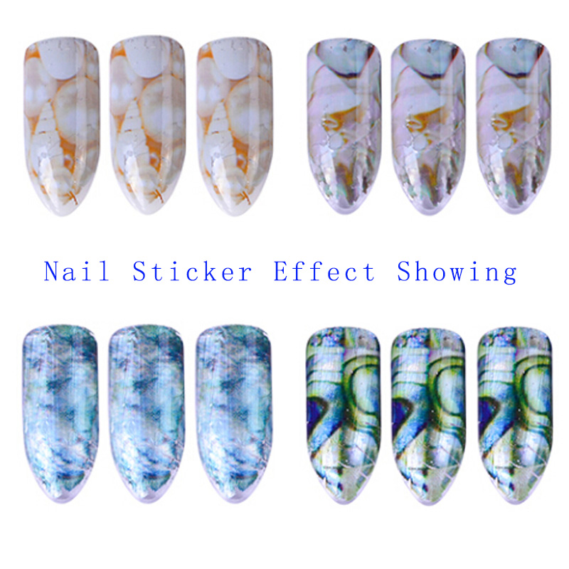 1set 16 Holographic Nail Transfer Stickers Gradient Laser Marble Nail Foils Glue Adhesive DIY Stencils Nails Tips Nail Accessory in Stickers Decals from Beauty Health
