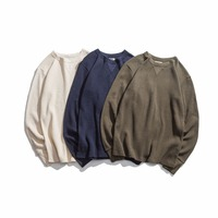 winter new round neck waffle men's T shirt retro wild clothing GP01