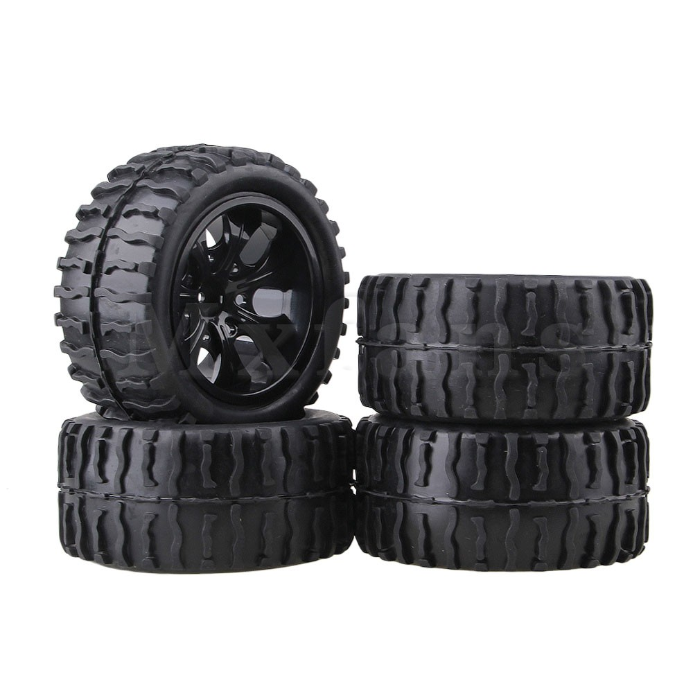 Mxfans Black RC 1:10 Truck Water Wave Tires + Wheel Hub 12mm Pack of 4 mxfans 4 x drift tires