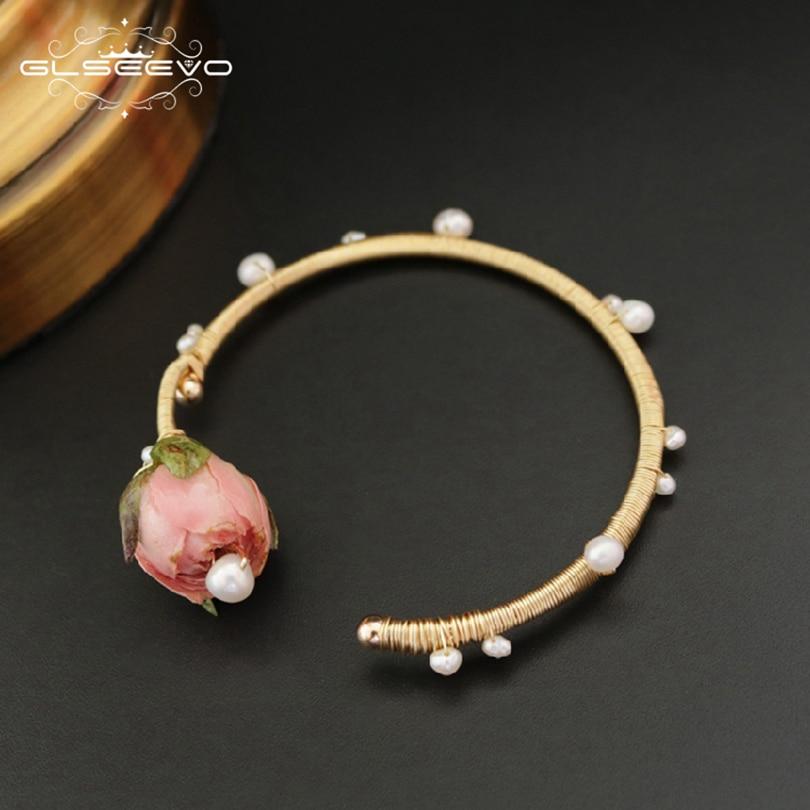 GLSEEVO Natural Fresh Water Baroque Adjustable Pearl Bracelet For Women Flower Bracelets & Bangle Fine Jewelry Bracelets GB0048 fresh beads rhinestone flower bracelet for women
