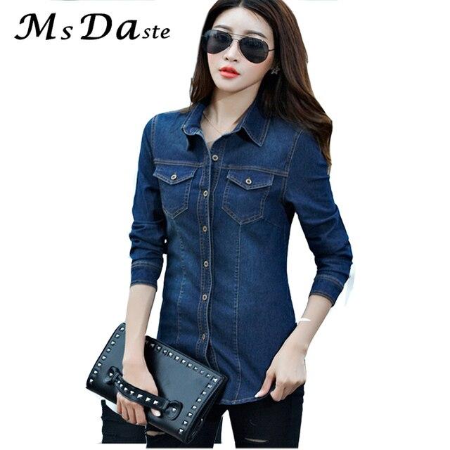 bccd89b328 Mujer Denim blusas 2018 Blusa Jeans femenino elástico manga larga Slim  Casual Vintage mujer Jean camisa