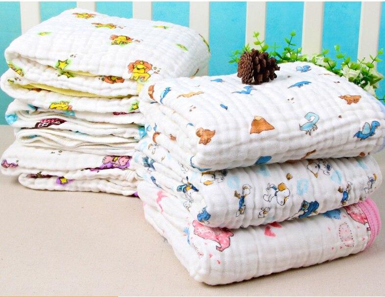 Купить с кэшбэком 100% Cotton  6 Layers Muslin Bebe Swaddle Blanket Newborn Baby Bath Towel Cotton Gauze New Born Towels Ultra Soft Towel 70*140cm