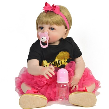 "Reborn baby dolls 23""57cm full silicone reborn  girl dolls toys kids birthday gift bebe boneca reborn corpo de silicone inteiro"