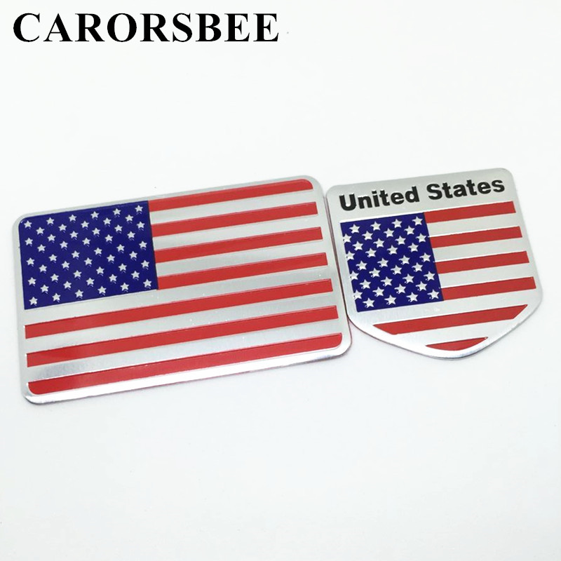 CARORSBEE 3D aluminum American US national flag Car sticker UNITED STATES Emblem Badge Auto Styling Motorcycle computer stickers auto chrome camaro letters for 1968 1969 camaro emblem badge sticker