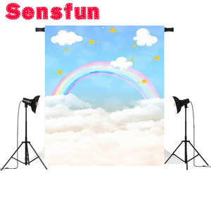 Image 3 - photography background blue sky white cloud rainbow newborn baby birthday theme backdrop professional photo studio 5x7ft