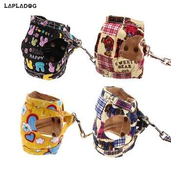 LAPLADOG العملي لينة قماش الحيوانات الأليفة سترة حبل شبكة الكلب تسخير الكلب الصدر حزام المقود مجموعة طوق المقود تسخير المشي زعيم حبل