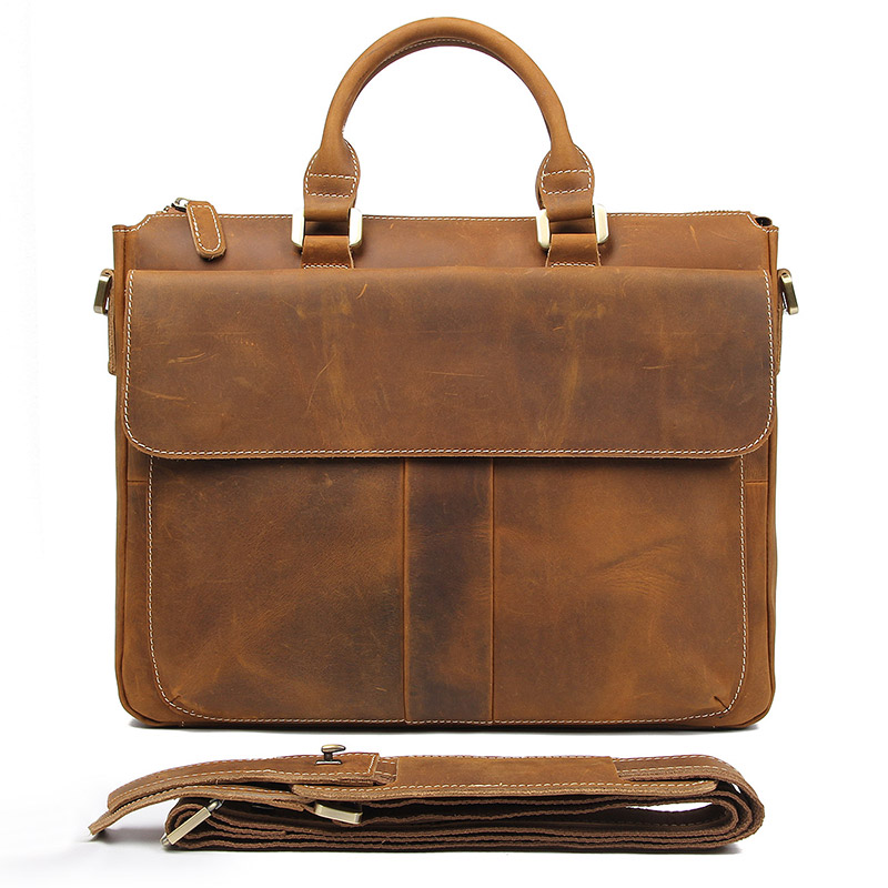 Horse Aktentaschen Klassische Crazy Umhängetasche Brown Braun Große Business 7113b Laptop Handtasche Leder Männer Kapazität Jmd 2 I0F5qxawx