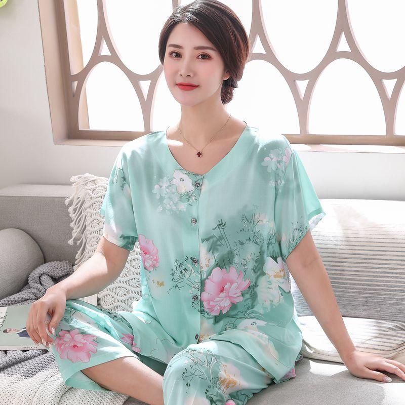 2PC Women Cotton Pajamas Set Summer New Thin Floral Short Sleeve Loose Sleepwear Casual Homewear Female Pyjamas Plus Size 3XL