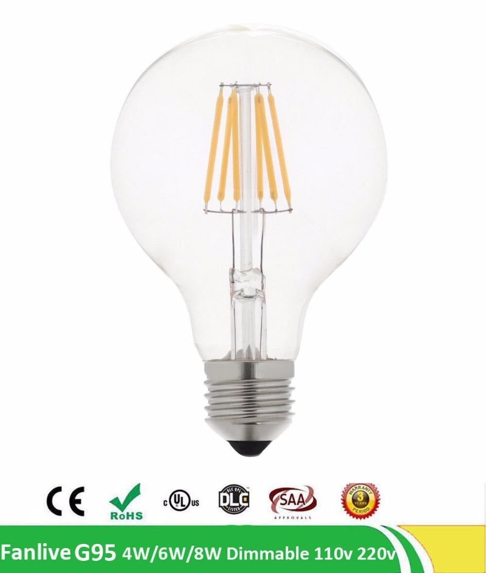 100pcs/lot Vintage Dimmable 220V 110V LED Edison Light Bulbs E27 2W 4W 6W 8W Incandescent Light Bulb G95 LED Filament Bulb Light