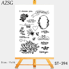 AZSG Potted Plant Swan Garland Heart-shaped Clear Stamps For DIY Scrapbooking/Card Making/Album Decorative Silicone Stamp Crafts