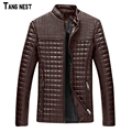 TANGNEST 2017 New Arrival Men's Solid Fashion PU Leather Jacket Male Casual Slim Fit  Solid Big Size M-5XL Coat MWJ719