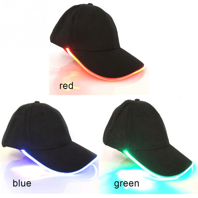 2019 New Design LED Lighting Hat Party Decoration Baseball Hip-Hop Light Caps Adjustable Fabric Hat Glow Cap