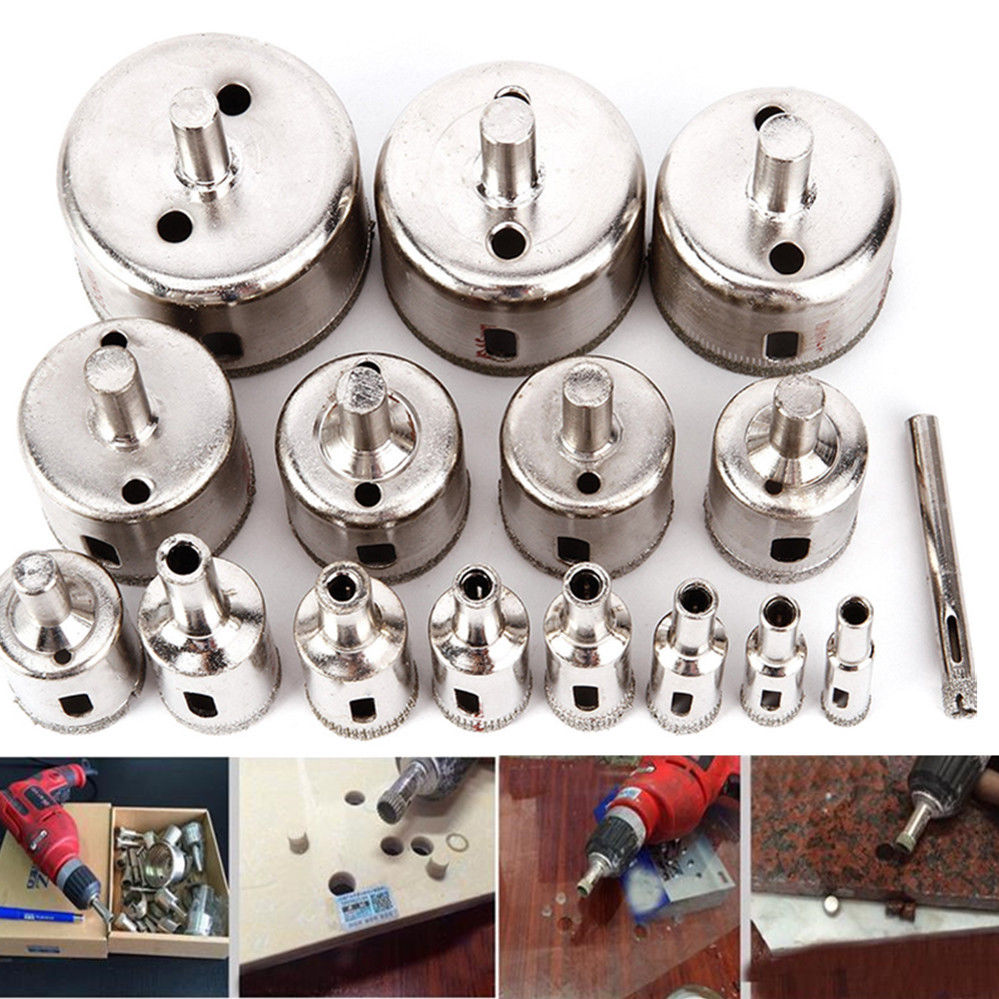 16pcs Diamond Coated Hole Saw Set Marble Drill Bit 6-50mm For Tile Glass Ceramic Drilling Tools 10pcs diamond holesaw set 8 50mm drill bit hole saw cutter for tile glass marble ceramic