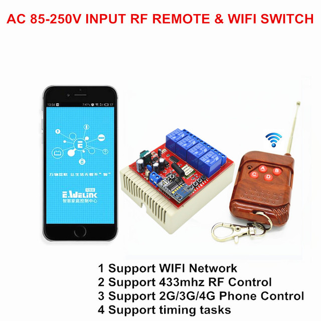2017 Wifi Switch 4 Way 85V-250V AC 10A Smart Light Switches 220V by Phone Support 433mhz RF Remote Controler Similar like Sonoff