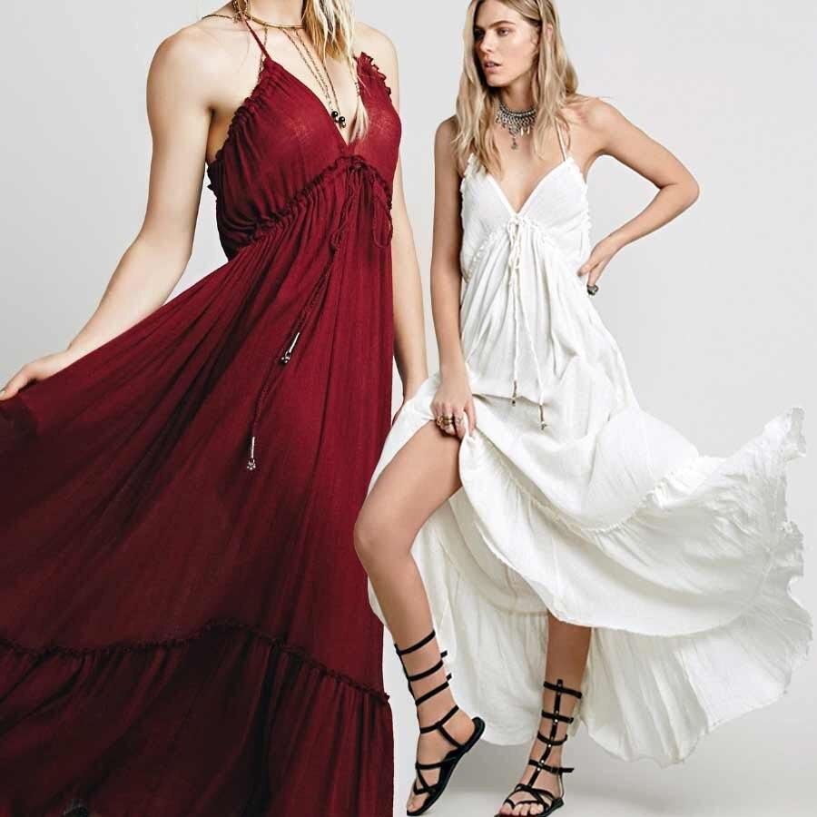 BOHO INSPIRIERT sommer kleider robe red halter backless frauen ...