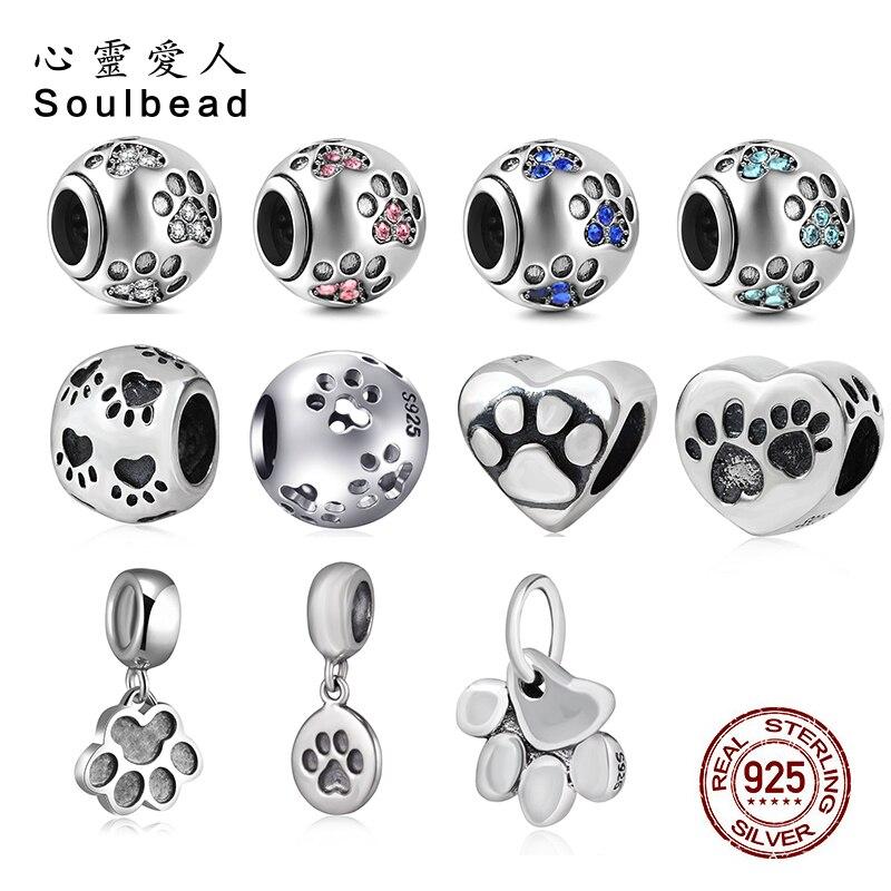 5 pc Puppy Dog Paw Prints Tracks Acrylic Bead for European Big Hole Jewelry USA