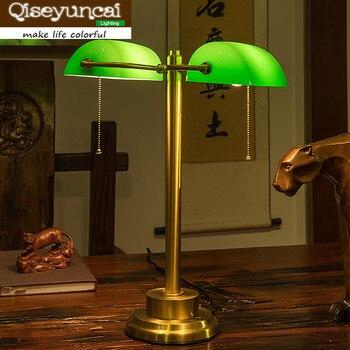 Qiseyuncai 2018 שולחן כל ראש כפול נחושת רטרו תעשייתית רוח מנורת שולחן שולחן led מנורת קריאת עין.