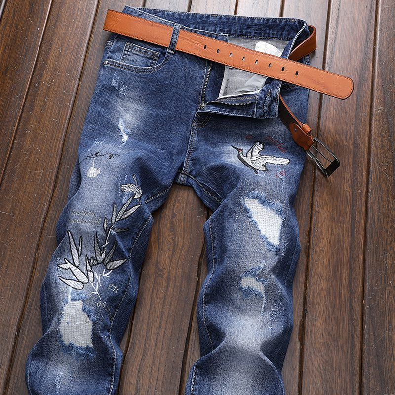 Imported From Abroad New Arrival Fashion High Quality Cotton Embroidery Men Jeans Broken Hole Full Length Casual Jeans Mens Plus Size 28-33 34 36 38 Men's Clothing