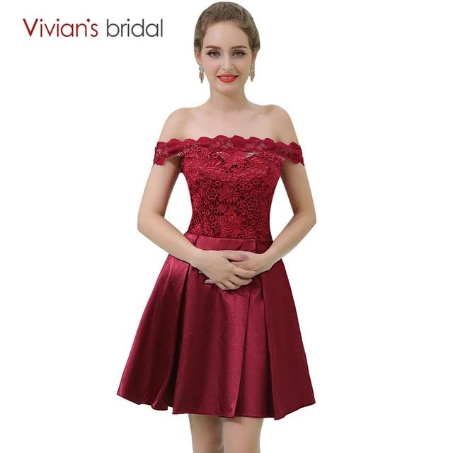 409f3aff76 Vestido de festa curto Nupcial da Vivian Borgonha Cocktail Dresses Fora Do  Ombro de Cetim UMA