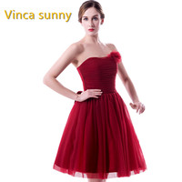 Vinca Sunny 2017 Robe De Soiree Short Tulle Prom Dresses 2017 Formal Sleeveless Graduation Burgundy Homecoming