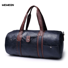 Large Capacity Outdoor Mens Sports Bag PU Leather Tote Gym Multifunctional Portable Travel Fitness