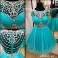 Teal Cute Juniors Short Cocktail Party Dresses Beaded Crystals Knee Length See Through Back Prom Cocktail Dresses Sparkly