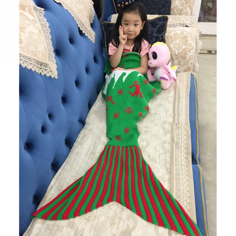 US $27 99 |Christmas Tree Snowflakes With Elk Knitting Mermaid Sofa Covered  Blanket Handmade Knitted Crochet Mermaid Tail Blanket Soft Sofa-in