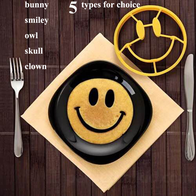 Food Grade Silicone Pancake Omelettes Mold Bunny Smile Breakfast Mould Fried Egg Rings Shaper Smiley Skull Bunny Silica Gel Mold