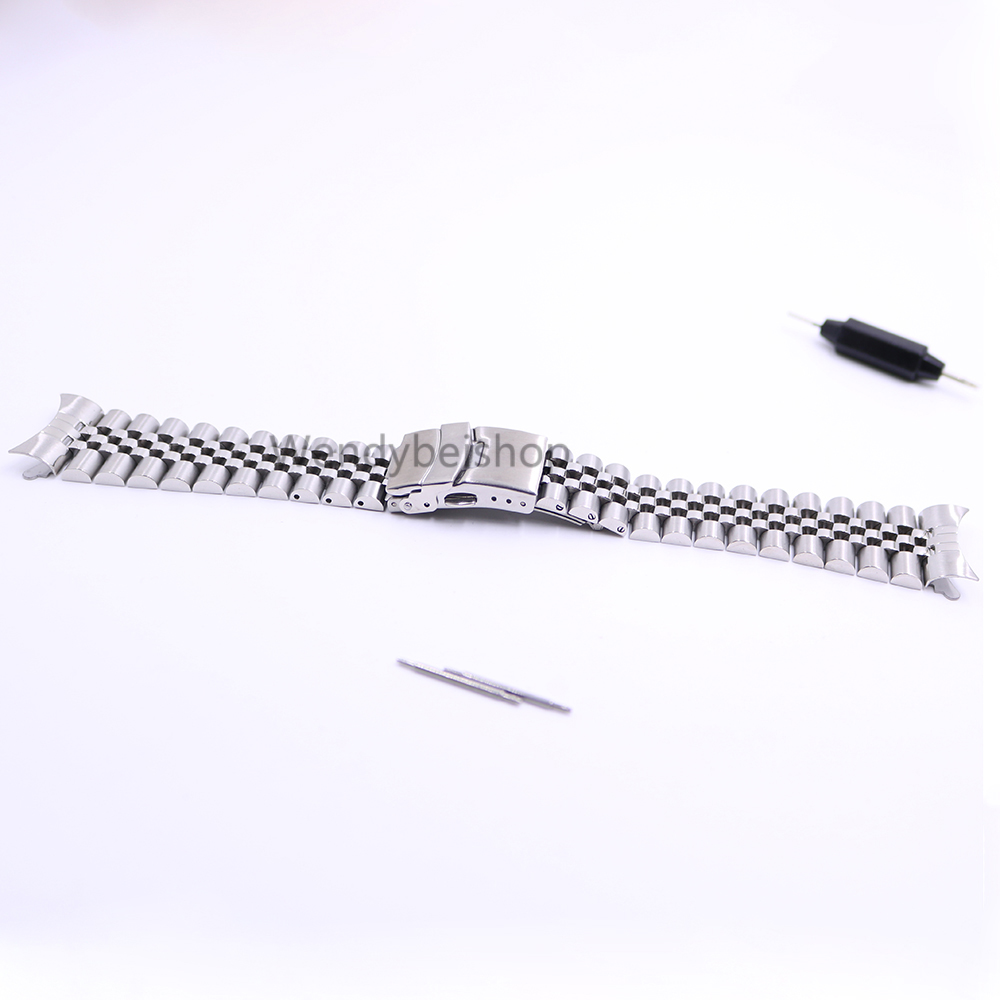 22mm Hollow Curved End Solid Screw Links Stainless Steel Silver Watch Band Strap Old Style Jubilee Bracelet Double Push Clasp стоимость