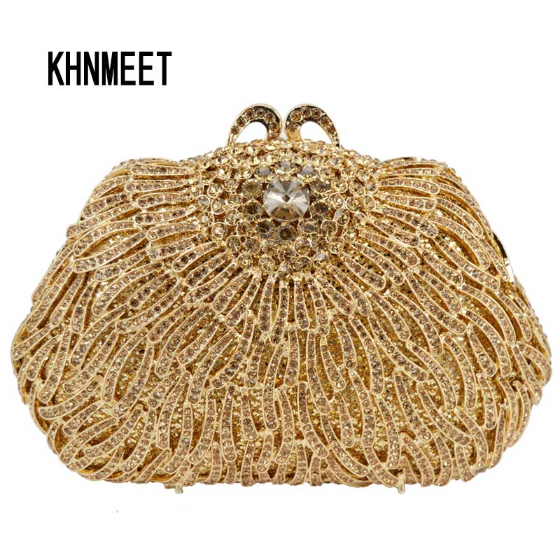 Newest Gold Luxury Crystal Banquet Bag Diamond Wedding Clutch Bag for Party Purse Dinner Bag Rhinestone Evening Bag SC461
