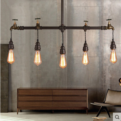 Iron Faucet Industrial Vintage Loft Pendant Lights 5 Lights Retro Hanglamp Fixtures For Home Lighting Bar Lamparas Colgantes