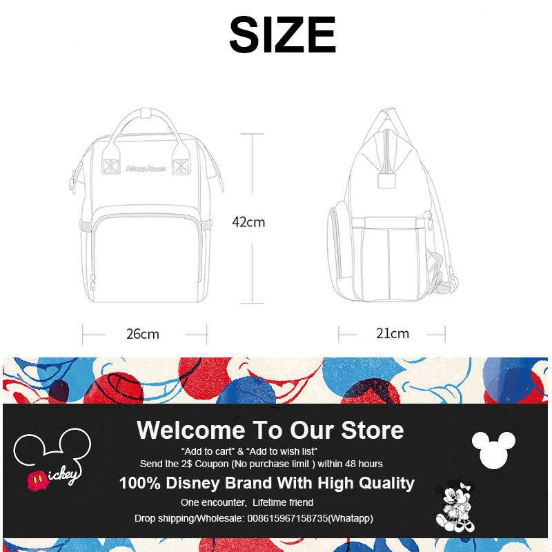 Disney กระเป๋าผ้าอ้อมกระเป๋าเป้สะพายหลัง USB ขวดฉนวนกันความร้อนกระเป๋า Minnie Mickey ความจุขนาดใหญ่ Oxford Feeding Baby Care Mummy กระเป๋าผ้าอ้อม