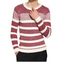 Sweater Men's LEFT ROM 2017 Men Sweater Male Long Sleeves Fashion Casual Best Size 3XL-7XL Top Stripe Round Collar High Quality