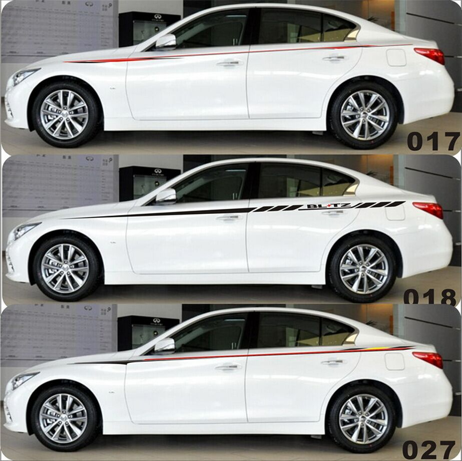 Car full body sticker design - 1set Car Accessories The Whole Body Parallel To The Body Stick Sporty Stripes Garland Car Stickers