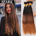7A Brazilian Virgin Hair Straight Ombre Brazilian Weave Hair Straight Ombre Human Hair Weave 4 Bundles Spark Hair Products OS106