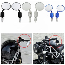 Motorcycle Universal CNC 7/8 Handle Bar End 3 Round Side Rear View Mirrors New