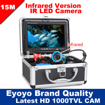 Eyoyo Original 15M Professional Fish Finder Underwater Fishing Video Camera 7 Color Monitor 1000TVL HD CAM 12pc Infrared lights EYOYO