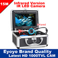 Eyoyo Original 15 M profesional buscador de peces pesca submarina cámara de vídeo 7 Monitor de Color de 1000TVL HD CAM 12 Unid luces infrarrojas