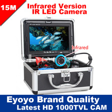 Eyoyo Original 15M Professional Fish Finder Underwater Fishing Video Camera 7″ Color Monitor 1000TVL HD CAM 12pc Infrared lights