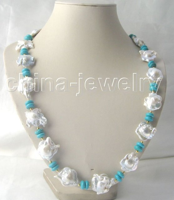 """Beautiful 27"""" 28 mm baroque keshi reborn pearl   turquoise necklace"""