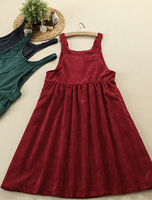 Vintage Corduroy Literary Fresh Solid Wild Long Strap Solid Dress Mori Girl 2016 Summer New