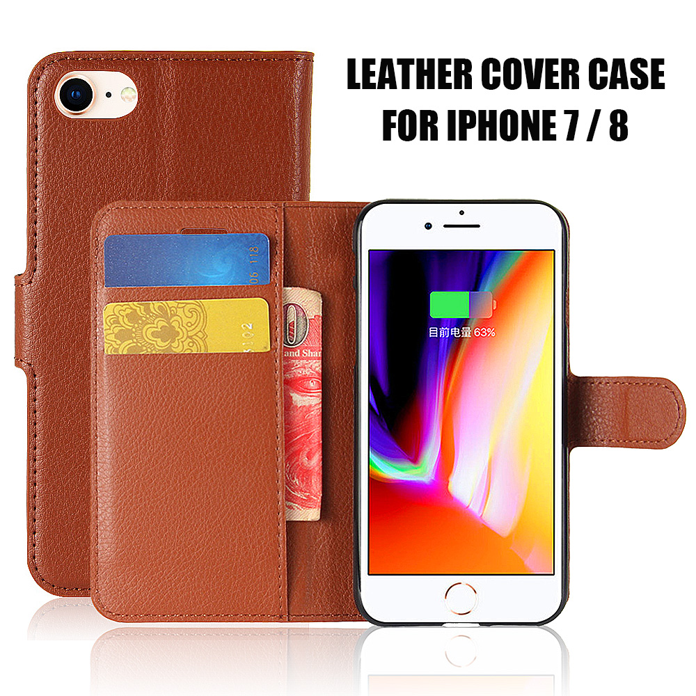 KIP71145_1_Litchi Texture Leather Case with Card Slots & Stand for iPhone 7
