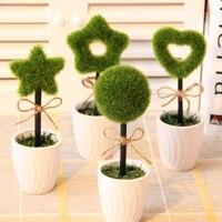 Peluche Erbe Finto Fiore Verde Bonsai Artificiale Bonsai Pianta Con Vaso di Fiori Artificiali Decorazione Scrivania Decorazione di Cerimonia Nuziale