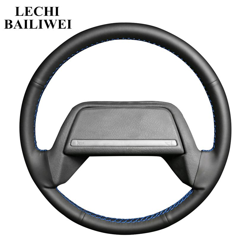 Hand-stitched Black Steering Wheel Cover Artificial Leather Car Steering Wheel Covers for Lada 2108-2115(China)