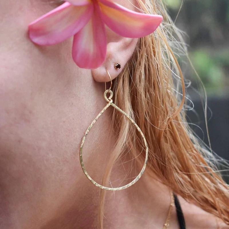 Handmade Gold Hoop Earrings Vintage Jewelry Customize 14 Gold Filled Orecchini Brincos Pendientes Earrings for Women Oorbellen pair of vintage rhinestoned hoop earrings for women