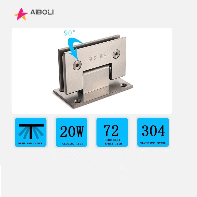 2PCS AIBOLI 90 Degree Open 304 Stainless Steel Wall Mount Glass Shower Door Hinge For Home Bathroom Furniture Hardware 2pcs 304 stainless steel black paint hinge 90 degree open wall mount glass shower door hinge for home bathroom hardware jf1320