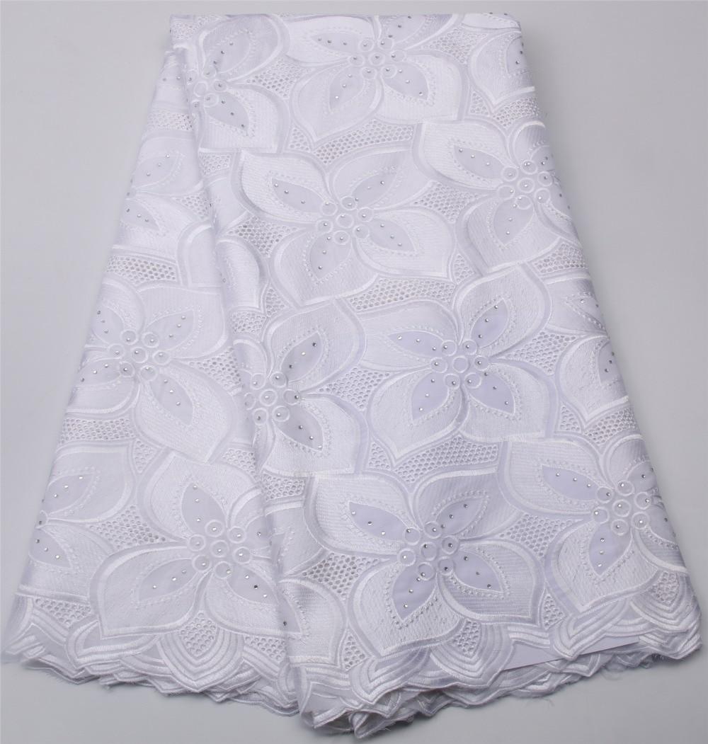 Fashionable 2017 Cotton Nigeria Clothes White Lace Fabric