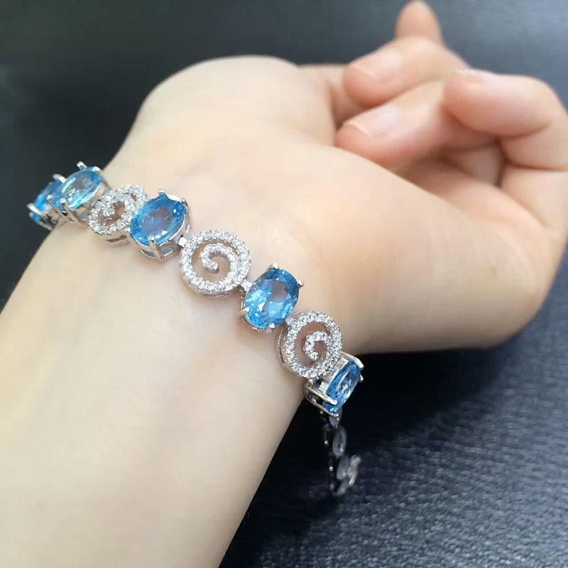 Hot Sale Qi Xuan_Free Shipping Blue Stone Elegant Bracelets_S925 Solid SilverFashion Bracelets_Manufacturer Directly Sales