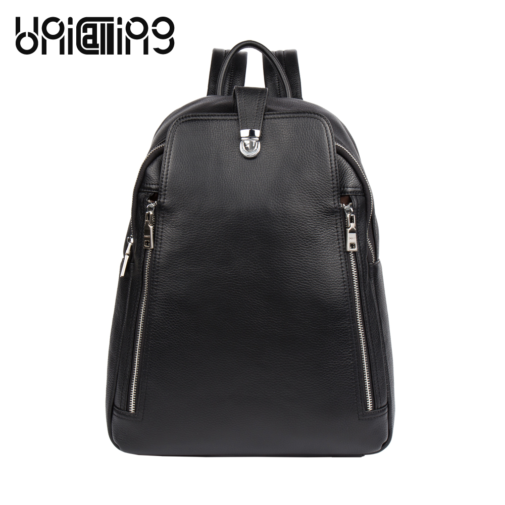 UniCalling backpack male business casual men leather backpack genuine leather backpack for men stylish backpack anti-theft hasp male classic microfiber leather backpack