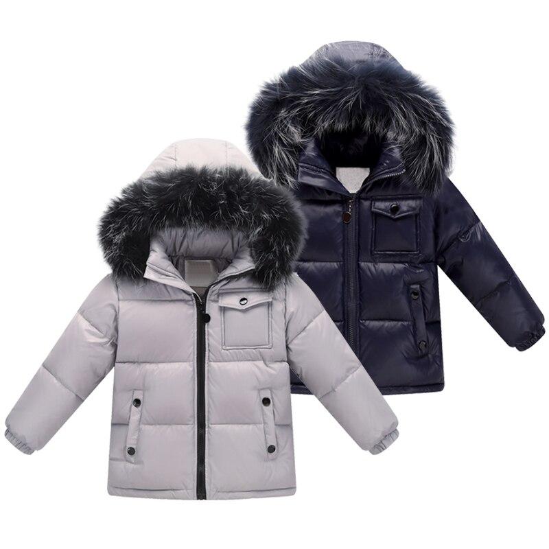 Children 90% White Duck Down Snow Wear Warm Outerwear Winte Jackets Coats 2018 New Baby Boy Big Nature Fur Down Jacket Parka